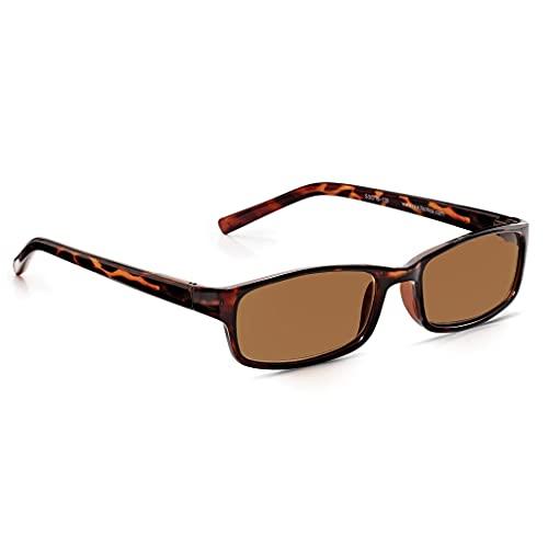Read Optics Sonnen-Lesebrille mit Vollrand: Sonnenbrille mit Premium-Rayguard™ UV-400-Gläsern mit Blendschutz. Rechteckig in dunkelbraunem Schildpatt Design. Für Herren und Damen in Stärke +1,0