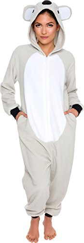 Silver Lilly Slim Fit Animal Pajamas - Adult One Piece Cosplay Koala Costume (Grey/White, Large)
