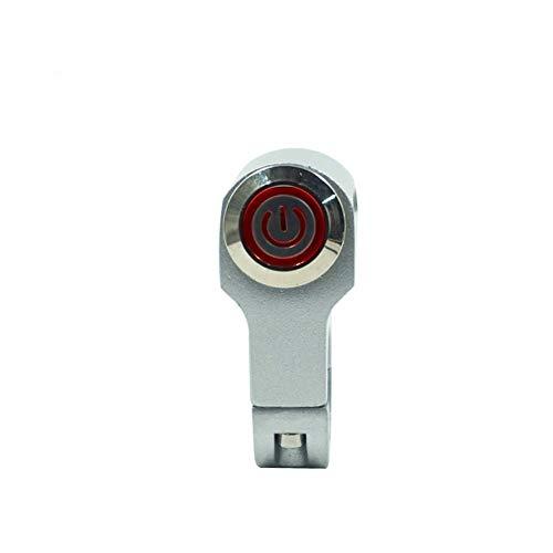 Motorfietsschakelaar zilver 7/8 inch 22 mm stuurschakelaar montage koplamp aan-/uitschakelen met indicator (kleur: Momentary Action(r))