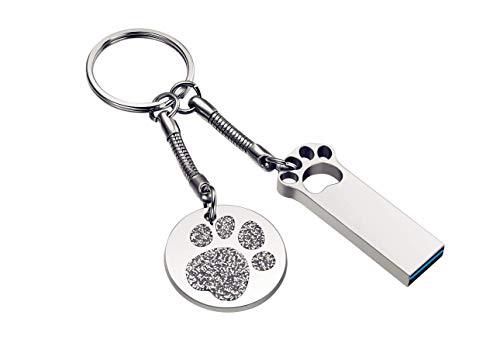 FeliSun Impermeabile Chiavetta USB3.0 16GB 32GB 64GB 128GB Alta velocità Flash Drive USB 3.0 con Portachiavi, Metallo Memory Stick U Disco Creative Pen Drive Regalo (16GB, Silver)