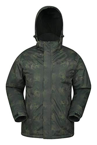 Mountain Warehouse Shadow Herren Gemusterte Skijacke - Wasserfeste Snowboardjacke, atmungsaktiv, schnelltrocknend, versiegelte Nähte, Skipassfach - Ideale Winterjacke Camouflage X-Small