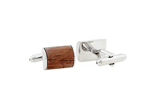 AnazoZ Herren Manschettenknöpfe Kupfer Manschettenknopf Personalisiert Holz Elegante Cufflinks Hemdanzug mit Kostenlose Gravur