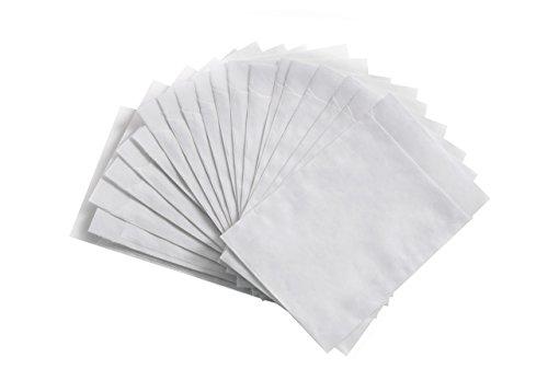 100 Stück kleine weiße Papiertüten Papier-Flachbeutel 10,5 x 15 cm, Geschenktüte Tischkarte - Verpackung Gastgeschenke Mitgebsel give away befüllen Papier-Beutel mini Papier-Sterne basteln