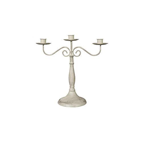 HARLIANGXY Portacandele in Metallo a 1, 3 o 5 Armati, Stile Vintage Bianco 3 Bracci