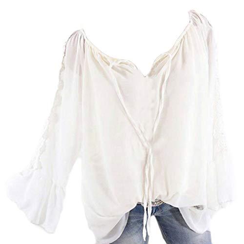 MRULIC Damen Bluse Einfarbig Hemd V-Ausschnitt Shirt Fliege Langarmshirt Oberteile Top Chiffon Tunika Leicht V-Ausschnitt Festliche Blusen mit Einstellbare Ärmeln