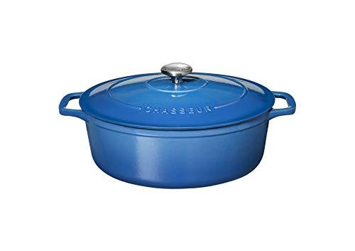 Chasseur PUC472541 Bräter, oval, 25 cm, emailliertes Gusseisen, 3,2 Liter, Blau
