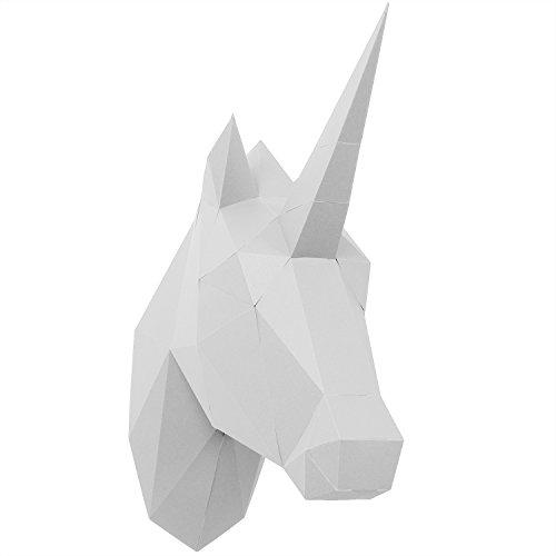 PaperShape 3D Papier Tier Einhorn ohne kleben sehr schnell zusammengebaut. Tierkopf Wand-Trophäe als Deko aus FSC-Papier in 3 Farben Einhorn-Kopf Maße 42 x 14 x 35 cm. Made in Germany (Pure White)