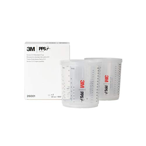 3M PPS 2.0 Spray Gun Cups, 26001, Standard, 22 Ounces, Use with Paint Gun and PPS 2.0 Lids and Liners to Paint Cars, Furniture, House and More, 2 Pack