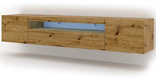 Mueble bajo para TV Aura, 200 cm, para colgar o de pie, universal, mueble para televisión, aparador, mesa de alta fidelidad (roble Artisan con LED)