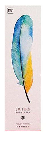 30-Pack of Watercolor-Style Feather Bookmarks