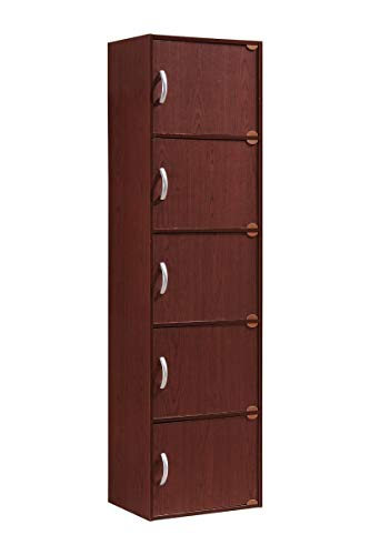 HODEDAH IMPORT 5-Shelf Bookcase Cabinet, Mahogany