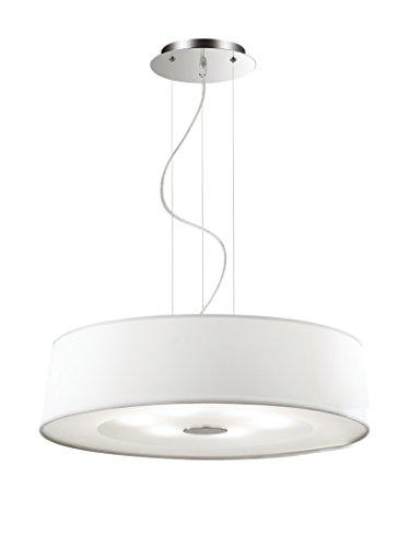 Ideal Lux Hilton SP6 Lampada a Sospensione E27, Bianco, 60 x 110 cm