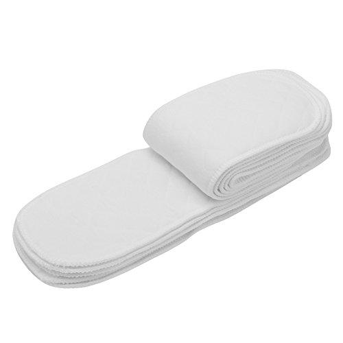 10pcs Pañales De Tela De Algodón Lavable Pañales Reutilizables De Alta Absorbencia Suave y Seguro Inserta Revestimientos En Todas Las Pieles Recién(Insertar 6 Capas)