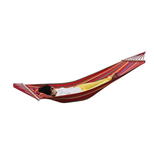 LYMUP Hamaca, hamaca de jardín de recreo con barras esparcedoras de madera, portátil, compacta, de alta resistencia, perfecta para patio, viajes, regalos para excursionistas (color: A)