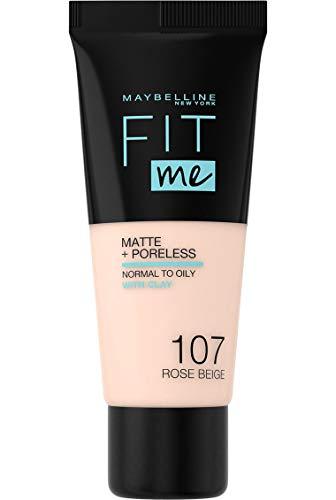 Maybelline New York - Fond de Teint Fluide Ton sur Ton Fit me! Matte and Poreless - Teinte : 107 Rose Beige, NU