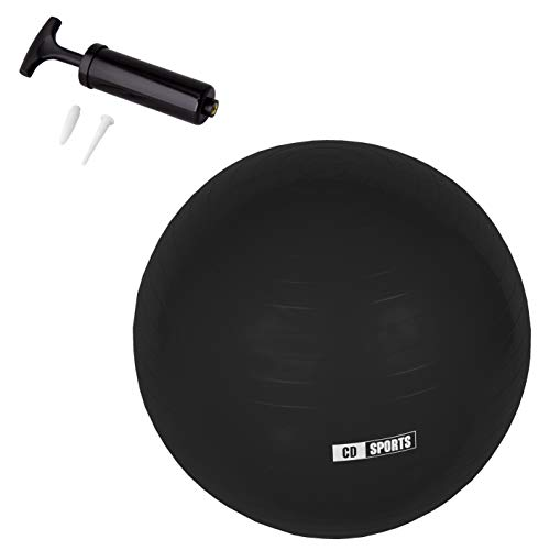 Calma Dragon Pelota de Pilates 55cm / 65cm / 75cm Diámetro, Balón para Embarazadas, Fitball, con Inflador Incluido, Bola Grande para Yoga, Gimnasia, Fitness (Negro, 65)