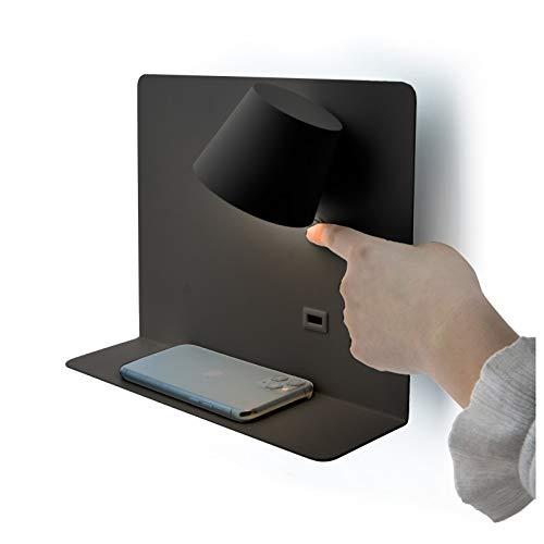 BarcelonaLED Lámpara Aplique de pared LED aluminio negro con base de carga USB, foco orientable de 6W blanco calido 2700K e interruptor para Dormitorio Cama Cabecero Lectura Salón