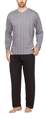 Moonline - Herren Schlafanzug lang aus 100% Baumwolle mit V-Ausschnitt und Streifen-Design, Farbe:Streifen-Druck auf grau, Größe:58-60