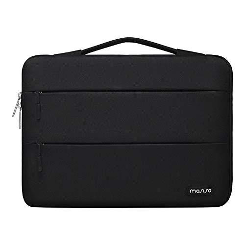 MOSISO 360 Funda Protectora Compatible con MacBook Pro 13/MacBook Air 13, 13-13,3 Pulgadas Portátil, Maletín de Poliéster con 2 Bolsillos Organizadores Paralelos Horizontales y Cinturón, Negro