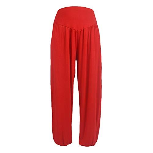 Pantaloni larghi da donna, pantaloni da jogging, pantaloni da donna, pantaloni da Harén per danza, sport e yoga, in morbido cotone, casual, morbidi, (#001) Rosso, S