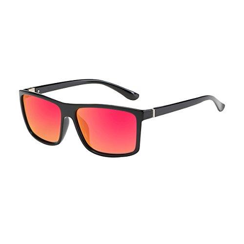 BVAGSS Herren Sonnenbrille Mit Polarisierte Gläser Outdoor Sportarten Schutz Brille UV-Schutz Fahrbrille(WS021) (Black Frame With Red Lens)