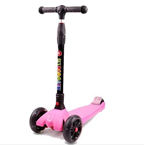 DYX Stunt Scooter, Vespa para niños 3-6-14 años de Edad, niño, Cuatro Ruedas, Flash, un botón, Plegable, Patinete, Diapositiva, Juguete (Color : Pink)