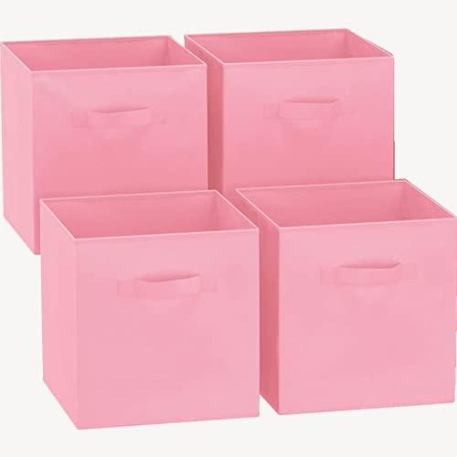 GREATOOL Caja de Almacenaje Plegable, Pack 4 Unidades, 31x31x31cm,Cajas organizadoras en Tela, Caja para organizar Ropa, Juguetes y Sábanas en Armarios (4 Unidades, Rosa)