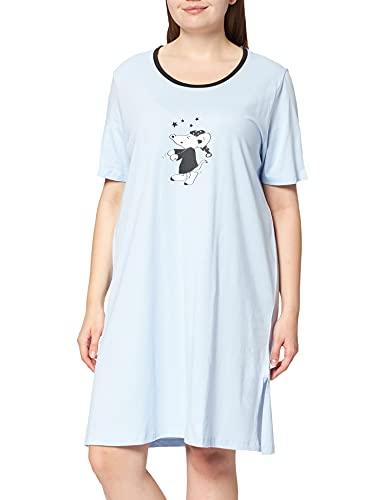 Ulla Popken Damen Big Shirts, 2er, Maus Nachthemd, zartes hellblau, 42+