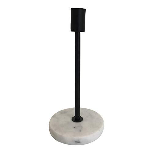 Housevitamin kaarsenhouder/kandelaar - metalen kaarsenstandaard op marmeren voet - 21cm hoog