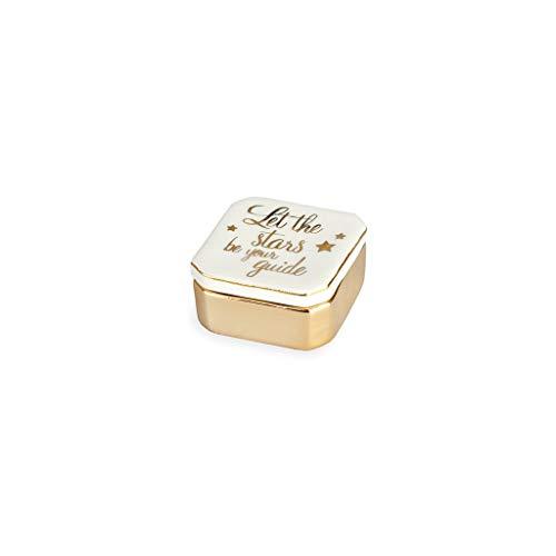 Balvi Porta Anillos Golden Box Stars Color Blanco Cajita para Anillos, Pendientes y Otras Joyas pequeñas Porcelana 4,9cm