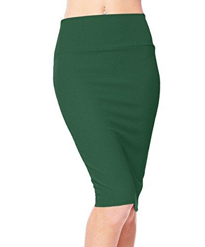 Urban CoCo Women's High Waist Stretch Bodycon Pencil Skirt (M, Dark Green)