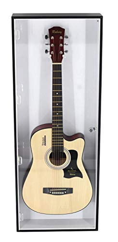 Electric Guitar Display Case Rack Hanger Holder Wall Mount Cabinet, with Lock, UV Protection Acrylic. (Black Frame, White Background)