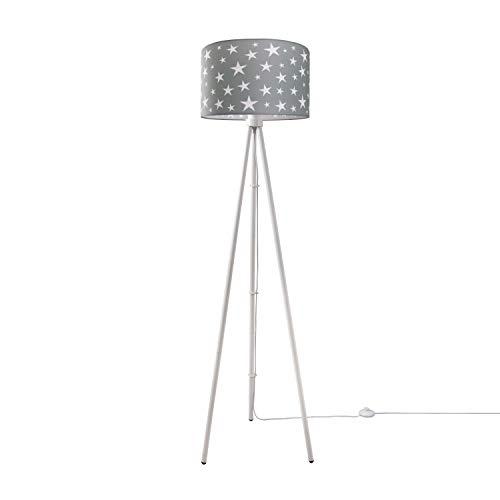 Kinderlampe Stehlampe LED Kinderzimmer, Sternen-Motiv, Deko Stehleuchte E27, Lampenfuß:Dreibeinig Weiß, Lampenschirm:Taupe (Ø38 cm)