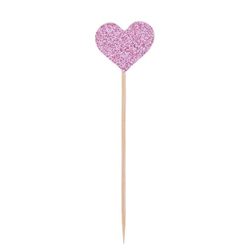 160pcs/Set Colored Bling Heart Shape Insert Cards with Toothpick for Wedding Birthday Party Cute Lovely Gifts Cake Decorations Pink
