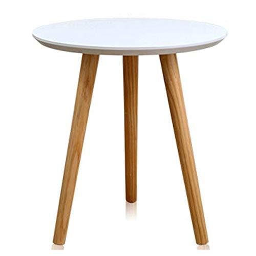 Tables basses Petite Table Ronde Élégante en Bois Massif Table De Coin Canapé Canapé Table Balcon Baie Vitrée Petit Zhuozi Bureau Magazine Casual (Color : Blanc, Size : 60x60x61.5cm)