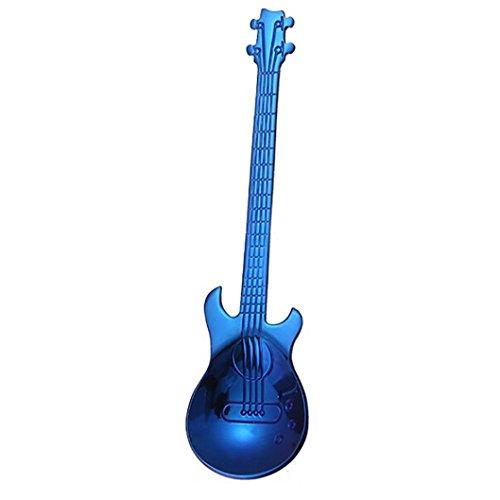 YJYDADA Stainless Steel Guitar Spoons Rainbow Coffee Tea Spoon Flatware Drinking Tools (Blue)