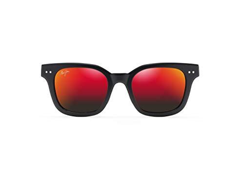 Maui Jim Shore Break Square Gafas de sol, rojo (Negro mate/Hawaii Lava Polarizado), Small