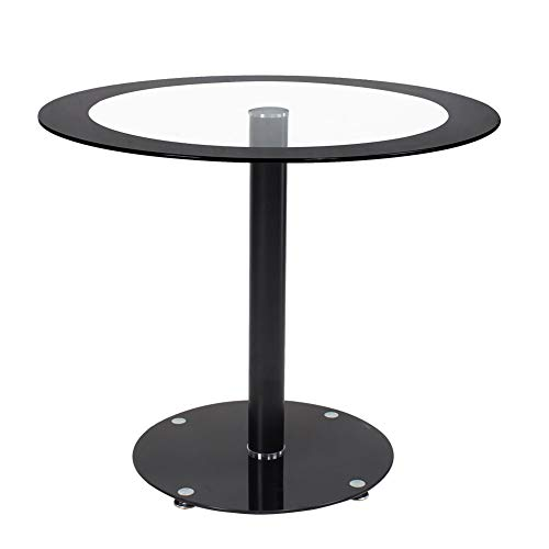 Beliwin Glass Dining Table Modern Round Style Table Furniture for Kitchen Dining Room (Black Round)