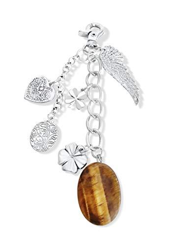 Sleutelhanger edelsteen | met levenssteen tijgeroog trommelsteen chakra geluksbrenger engelvleugel engel | 4 bladeren klaverblad hart roestvrij staal | met karabijnsluiting voor koffer autosleutel