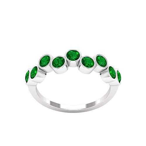 Rosec Jewels 10 quilates oro rosa redonda Green Zafiro azul Leb creado