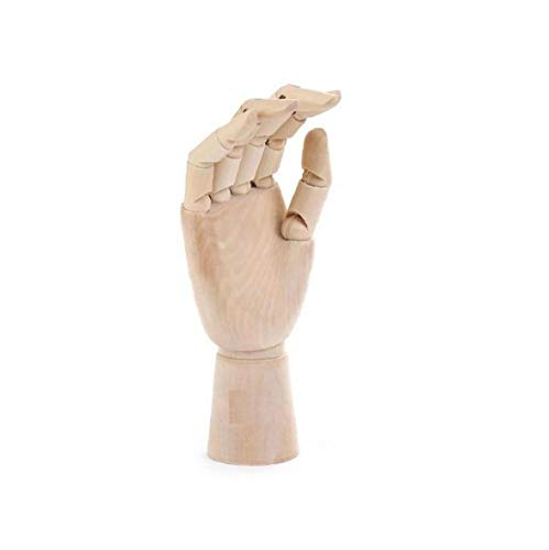 TOPofly Handpuppen, Holzhandmodell mit flexiblen Fingern, Gelenkig Articulated Mannequin Holz Hand Sectioned Opposable Figur Skulptur Manikin Handmodell für Zeichnen, Zeichnen, Malen (18cm,