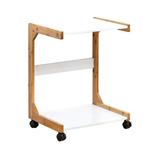 HYAN Mesa de Esquina de gabinete Lateral de Mesa pequeño móvil con Mesa de bambú Redondo Mesa de mesas de Mesa de Madera Maciza (Color : A, tamaño : 35CM)