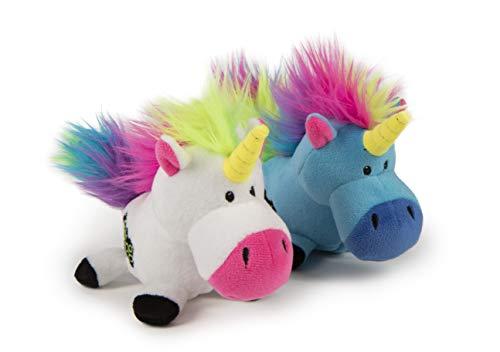 goDog, Unicórnios, brinquedo para cães com rodas, resistente à mastigação, pelúcia durável, macio, resistente, costuras reforçadas, azul e branco, pequeno, pacote com 2