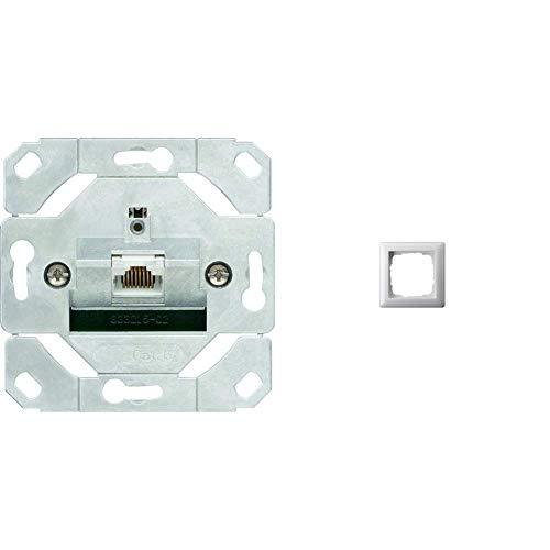 Gira 245100 Netzwerkdose 1-fach Cat.6A IEEE 802.3an Einsatz & 021103 Rahmen 1-fach ST55, reinweiß-glänzend