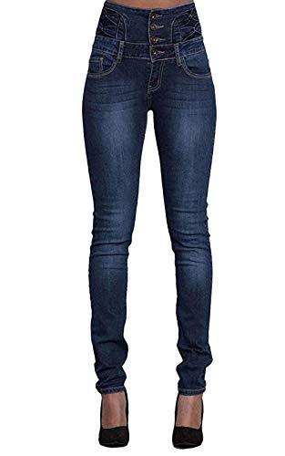 Yidarton Jeans für Damen Vintage Lässige Dünn Denim Strecken Schlank Hochbund Knopfleiste Jeanshose Röhrenjeans Push Up Hose (Dunkelblau, XXL)