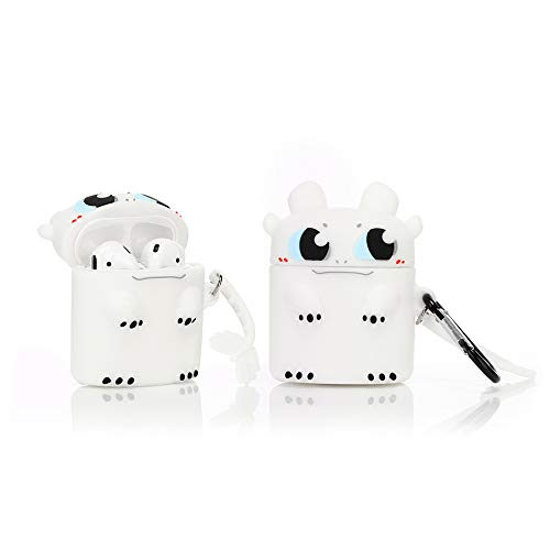 YIGEYI Silikon Hülle Kompatibel mit Airpods 1 & 2 Funny Cute 3D Cartoon Case Cover[US Animationsserie] (Light Fury)