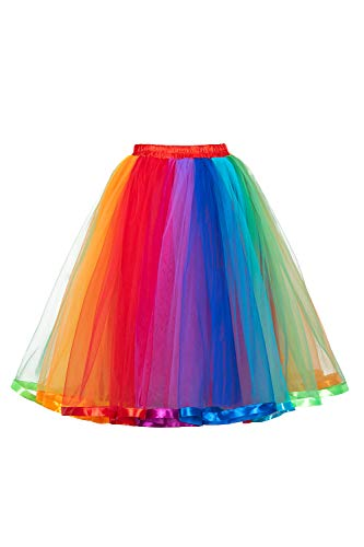 MisShow Women's Vintage 5 Layered Tulle Tutu Puffy Ballet Bubble Skirt Party Underskirt One Size