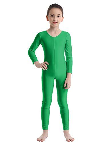 TiaoBug Bodies Jumpsuit Mono para Danza Gimnasia Rítmica Leotardo Body Básico Clásico Manga Larga para Ballet Deporte Niñas Niños 5-12 Años Verde 5-6 Años