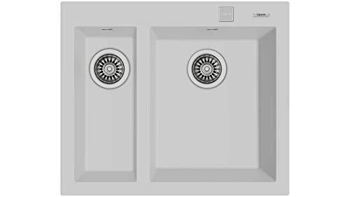 Teka 115260023 Fregadero de cocina hecho de granito (granito) con un solo y medio cuenco Forsquare 590 TG blanco-115260023, blanco ártico