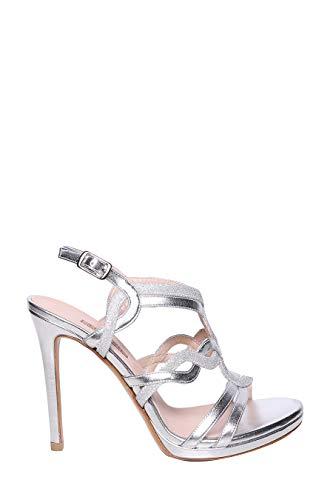 ALBANO Sandalo Pelle Metallizzata con Fasce Intrecciate e Tacco a Spillo 11cm
